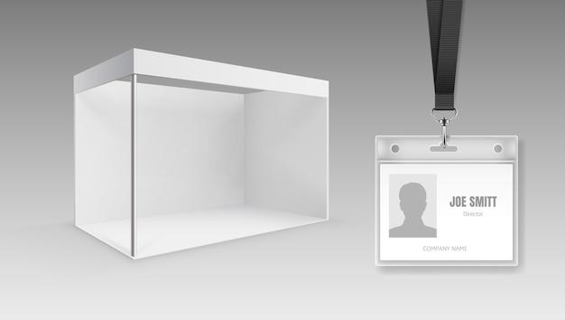 빈 휴대용 접이식 프레젠테이션 디스플레이 보드 또는 전시 스탠드 및 Id 카드 프리미엄 벡터