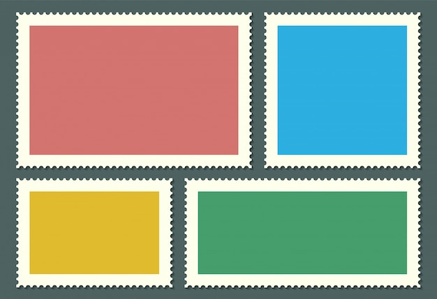 Blank postage stamps for mail, post card. Premium Vector