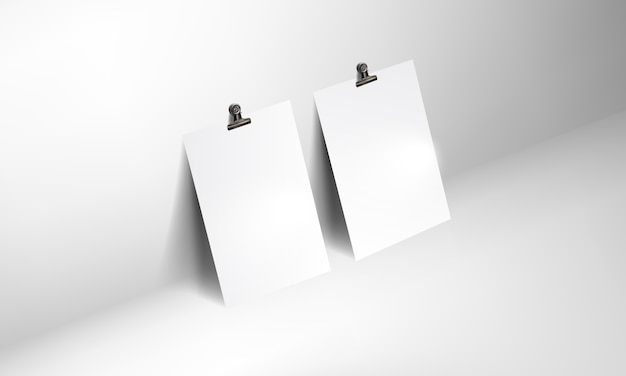 Blank poster realistic mockup with binder clip Premium Vector