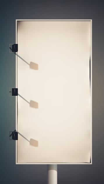 ランプと金属フレームが分離された列に空白のプロモーション垂直看板 無料ベクター