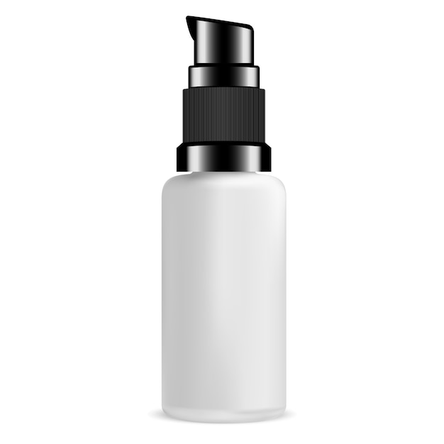 Blank pump bottle for serum cosmetic. glass package. Premium Vector