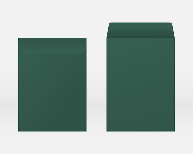 Blank realistic envelope front and back view mockup. mockup vector isolated. template design. Premium Vector