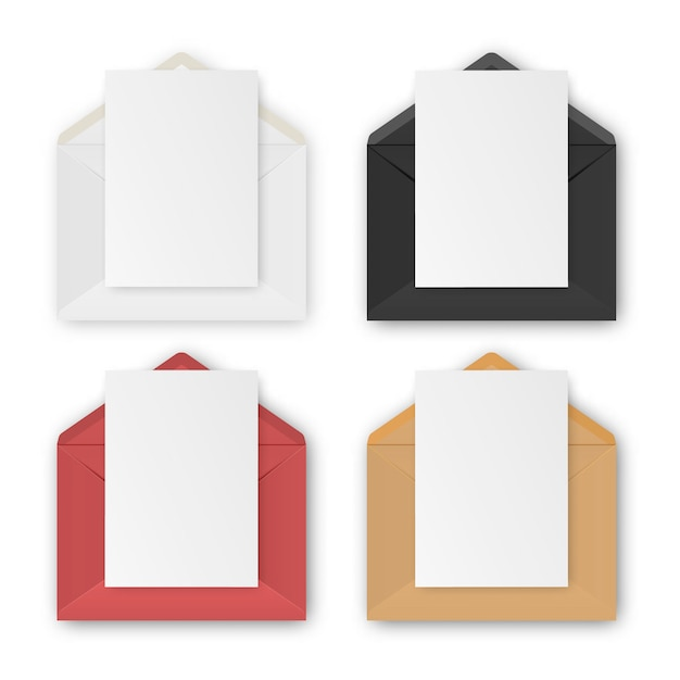 Blank realistic envelopes with paper  on white background,   set. Premium Vector