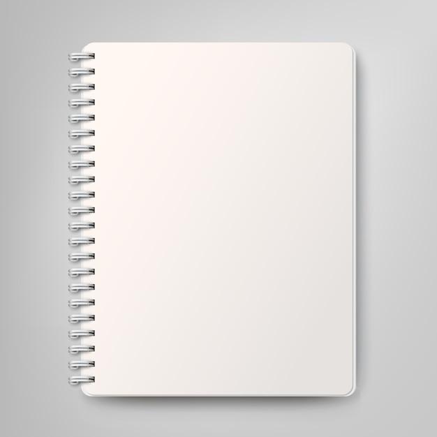 Notebook spiral realistis kosong, diisolasi dengan latar belakang putih Vektor Premium