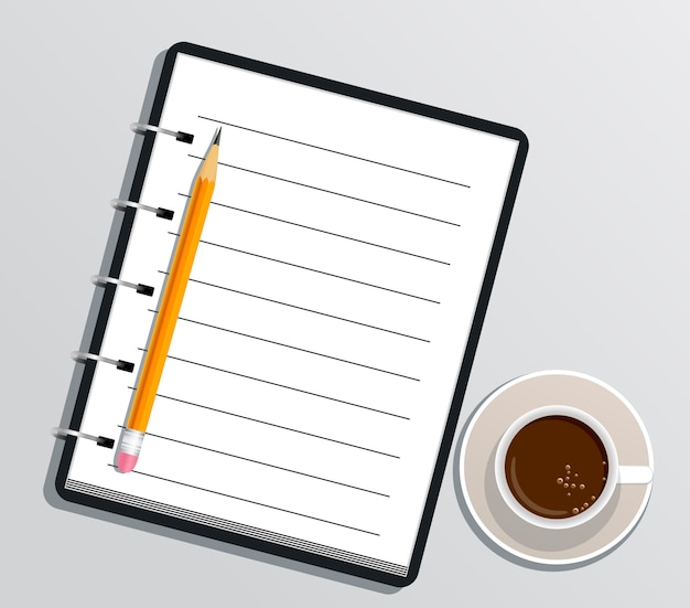 Blank realistic spiral notebook with pencil and cup of coffee isolated on white Premium Vector
