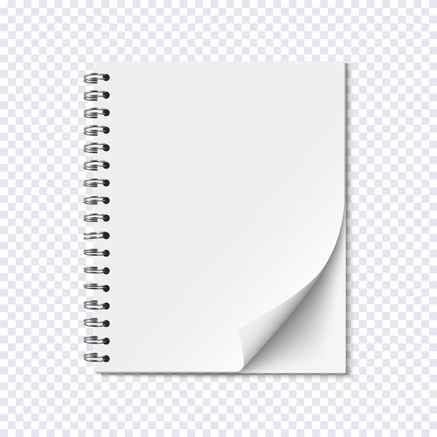 Blank Realistic Spiral Notepad On Transparent Background Premium
