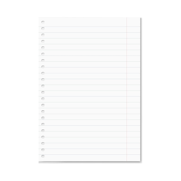Blank realistic vector lined copy-book sheet with red margins Vector