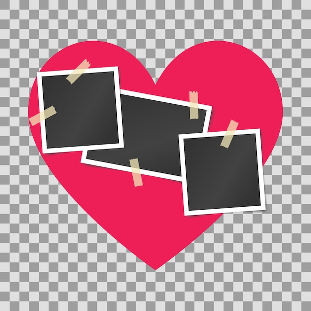 Blank realistic vintage photo frames sticked on duct tape on pink heart background. Premium Vector