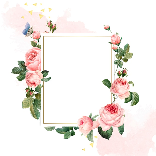 Blank rectangle pink roses frame on  pink and white background Free Vector