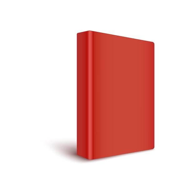 빈 빨간색 커버 책은 척추를 전면 현실적인 스타일, 흰색 배경에 고립으로 돌려 의미합니다. 색상의 3d 템플릿은 3 분기보기에서 하드 커버 책을 폐쇄 프리미엄 벡터