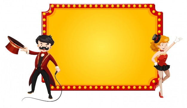 Blank retro sign with man and woman from circus show Free Vector