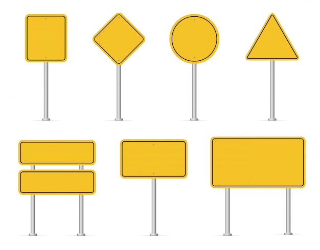 Blank road yellow traffic signs. Premium Vector