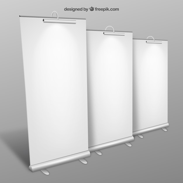 Blank roll up banners collection Free Vector