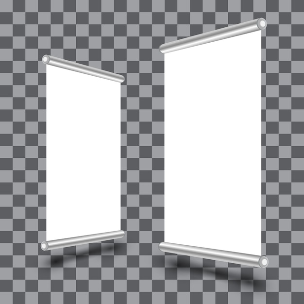 Blank roll-up xbanner display isolated on transparent Premium Vector