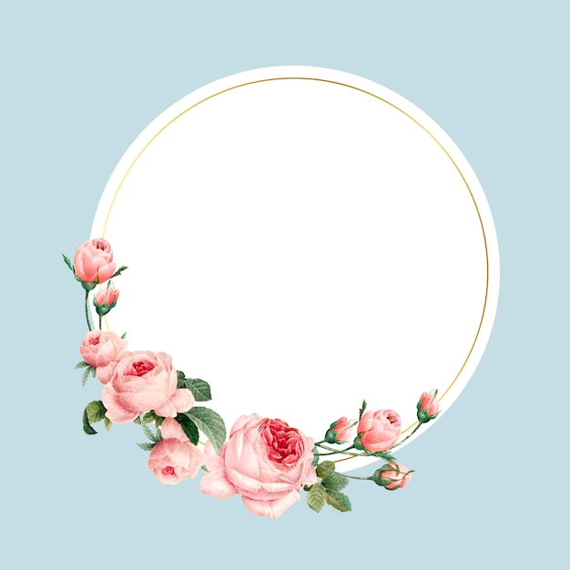Blank round pink roses frame vector on blue background Free Vector