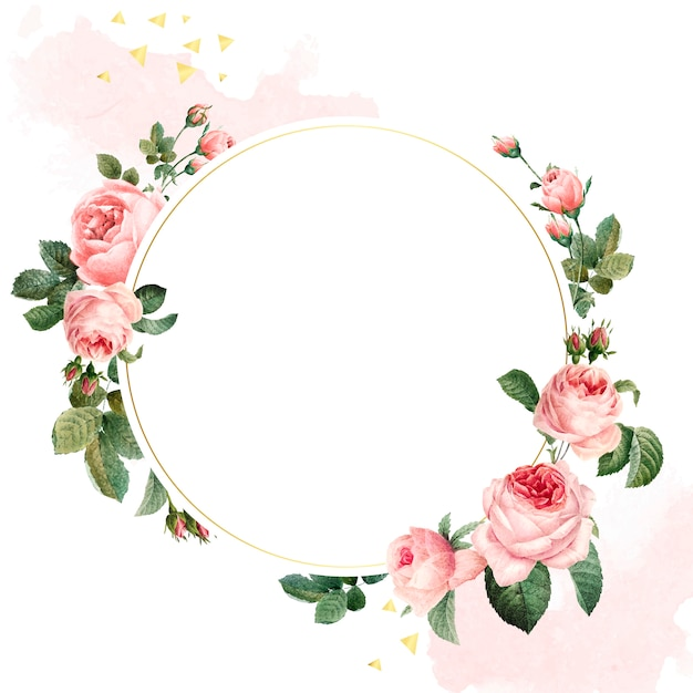 Blank round pink roses frame vector Free Vector