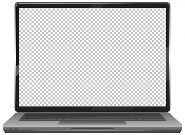 Blank screen laptop gadget icon  on white background Free Vector