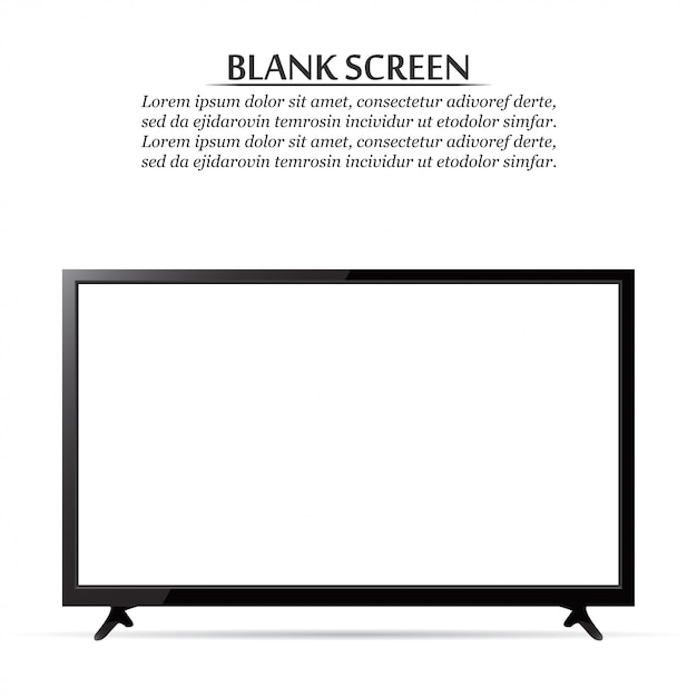 Blank screen. realistic tv on a white background Premium Vector