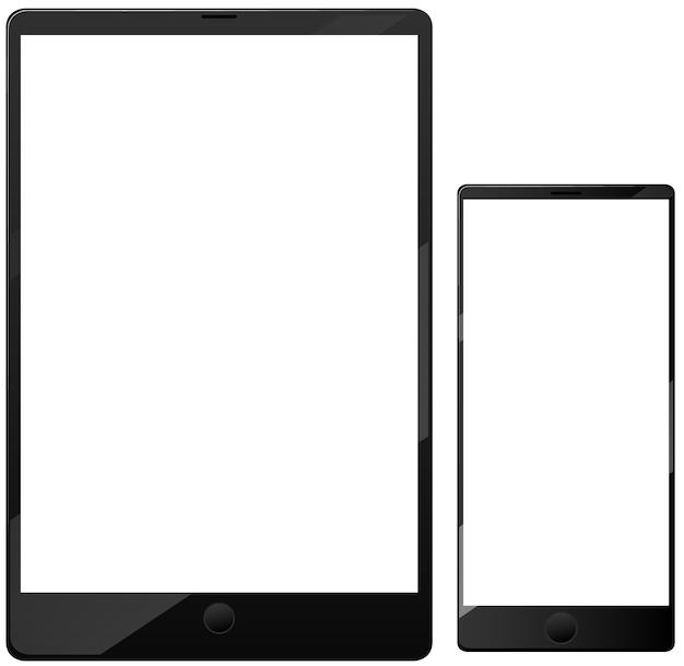 흰색 배경에 고립 된 빈 화면 스마트 폰 및 태블릿 아이콘 무료 벡터
