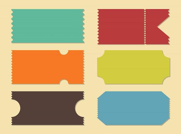Blank shapes of tickets. templates movie, cinema. Premium Vector