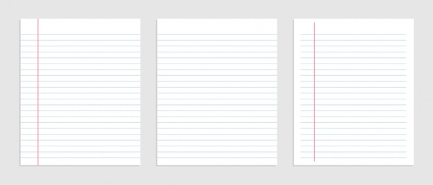 Blank sheet of lined notebook paper set Free Vector