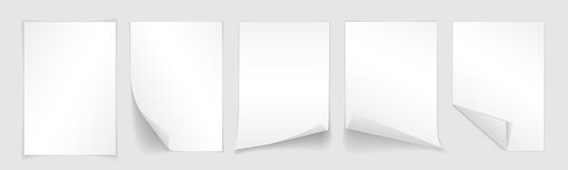 컬된 모서리와 그림자, 디자인을위한 템플릿 흰 종이의 빈 시트. 세트. 프리미엄 벡터