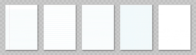 Blank sheet of paper. lined paper set. Premium Vector