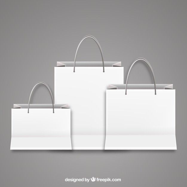 Blank shopping bags | Free VectorWhite Paper Bag Vector
