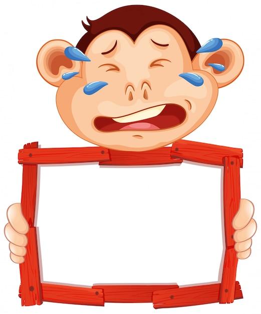 白い背景で泣いている猿の空白記号テンプレート 無料ベクター