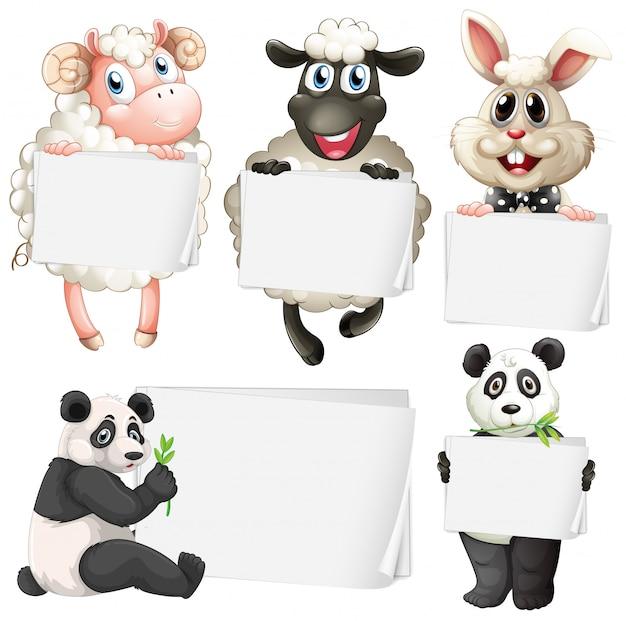 Modello di segno bianco con simpatici animali su sfondo bianco Vettore gratuito