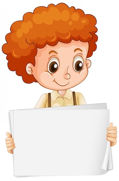 Пустой шаблон знака с милым мальчиком на белом фоне Premium векторы