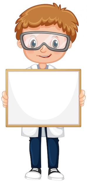 Пустой шаблон знака с милым мальчиком на белом фоне Бесплатные векторы