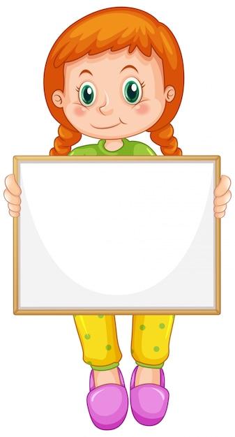 Пустой шаблон знака с милой девушкой на белом фоне Бесплатные векторы
