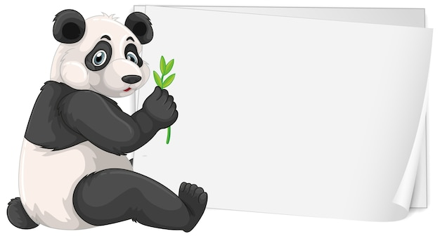 Blank sign template with cute panda on white Free Vector