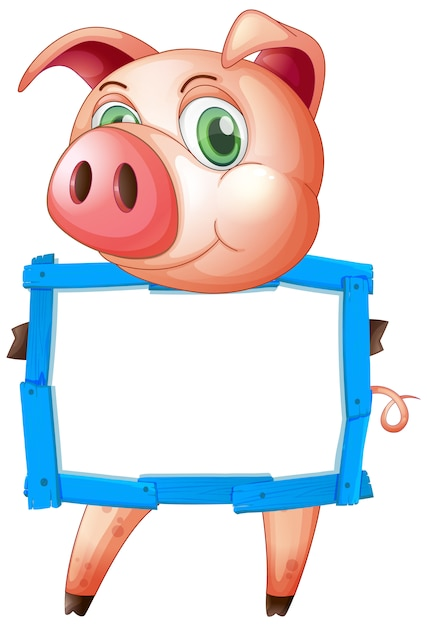 Blank sign template with cute pig on white background Free Vector
