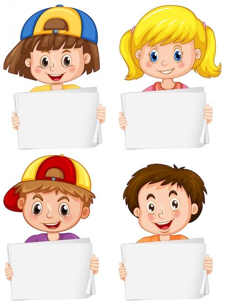 Пустой шаблон знака со счастливыми детьми на белом фоне Бесплатные векторы