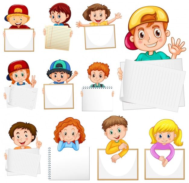 Пустой шаблон знак со многими детьми на белом фоне Бесплатные векторы