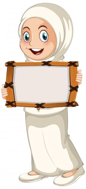Пустой шаблон знака с мусульманской девушкой на белом фоне Бесплатные векторы