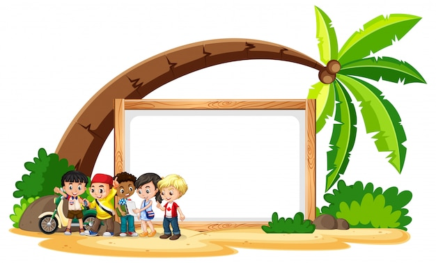 Blank sign  with kids on the beach Free Vector