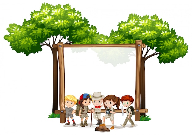 Blank sign  with kids and trees Free Vector