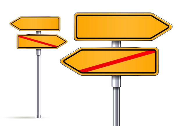 Blank signs pointing in opposite directions vector illustrarion Free Vector
