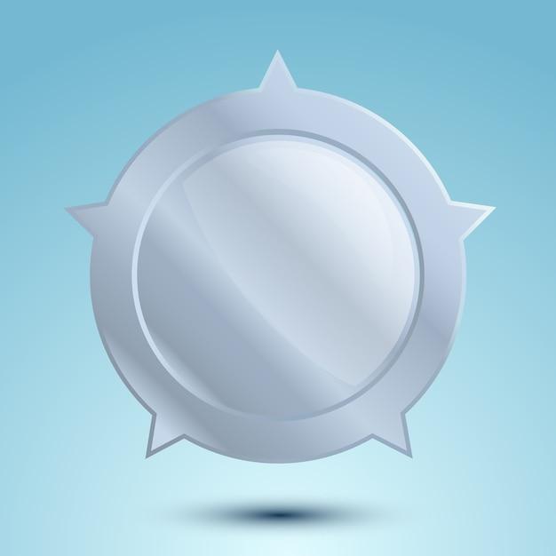 Medaglia d'argento in bianco o distintivo vuoto isolato Vettore gratuito