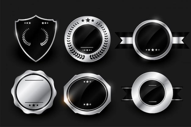 Пустые серебряные блестящие этикетки и значки дизайн Бесплатные векторы