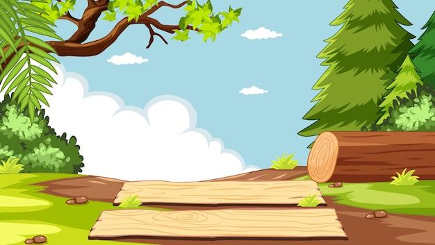 木材と自然公園のシーンの空白の空 無料ベクター