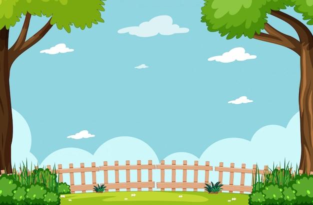 Пустое небо в природном парке сцена с деревом Бесплатные векторы