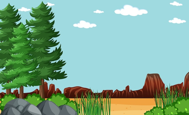 Blank sky in nature park scene with tree Free Vector