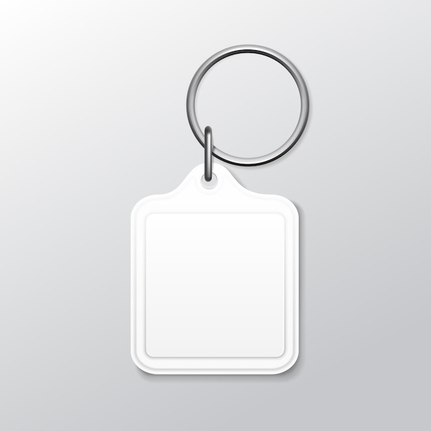Blank square keychain with ring and chain for key isolated on white background Premium Vector