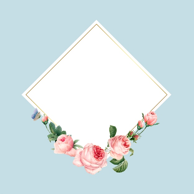 Blank square pink roses frame on blue background Free Vector