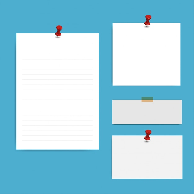 Blank squared notepad pages and pin Premium Vector