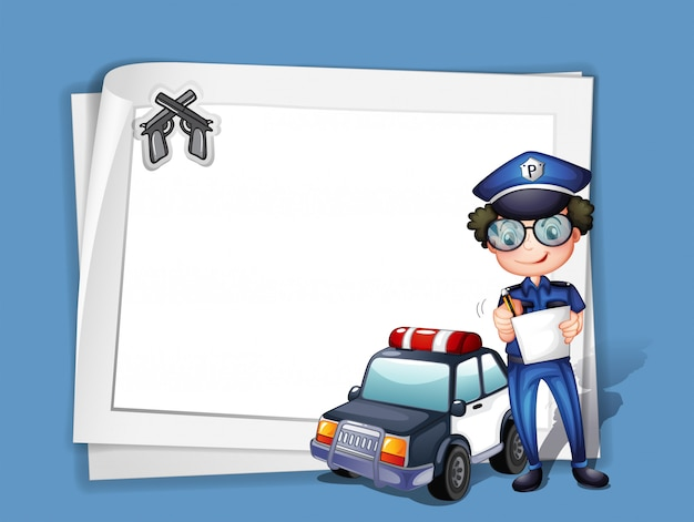 A blank stationery with a policeman Free Vector